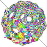Isosurface of buckyball, colored according to supercubes.